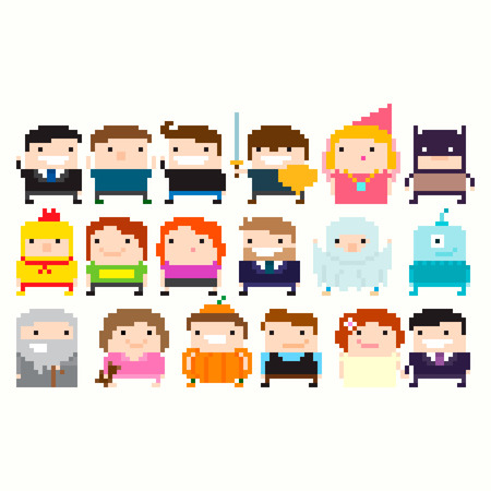Many pixel art funny characters: businessman, warrior, princess, wizard, superhero, halloween party costume, alien, little girl in pajamas, wedding couple