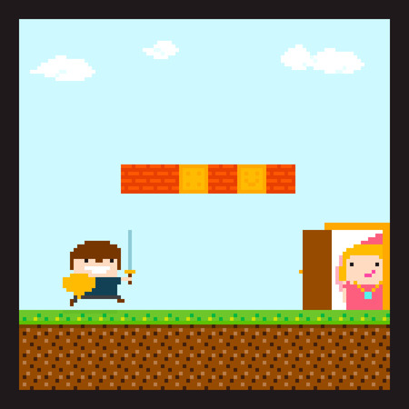 8 bit: Pixel art swordsman prince running to his princess staying behind the door in location with sky and clouds, grass, soil and brick wall