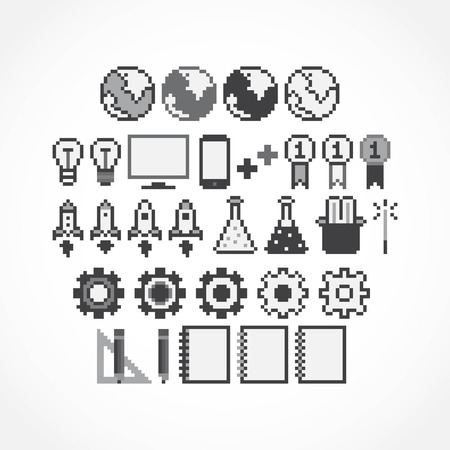 Set of pixel art grayscale icons Vector