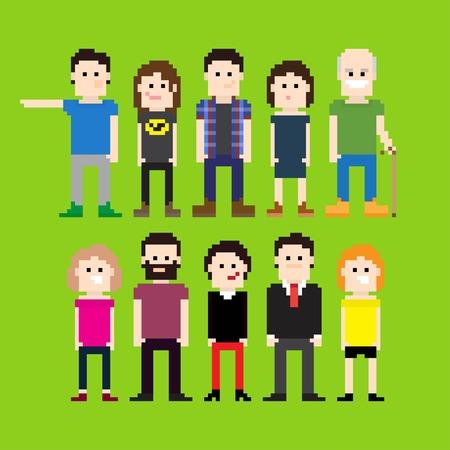 Small group of pixel art people Stock Illustratie