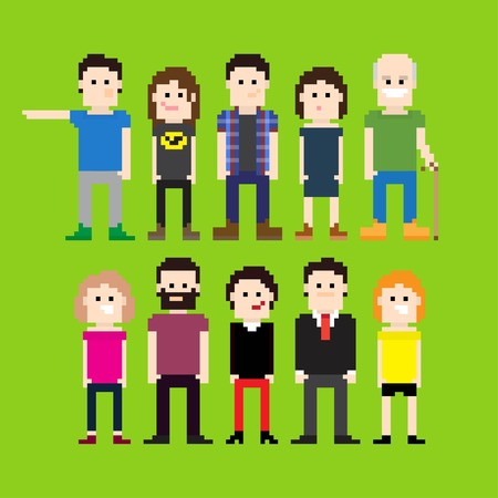 Small group of pixel art people Illustration