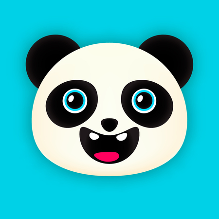 face painting: Smiling panda head isolated on blue background Illustration