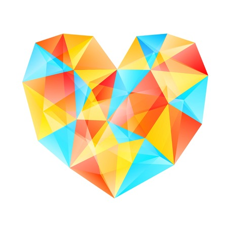 consist: Background with transparent heart, consist of many triangles Illustration
