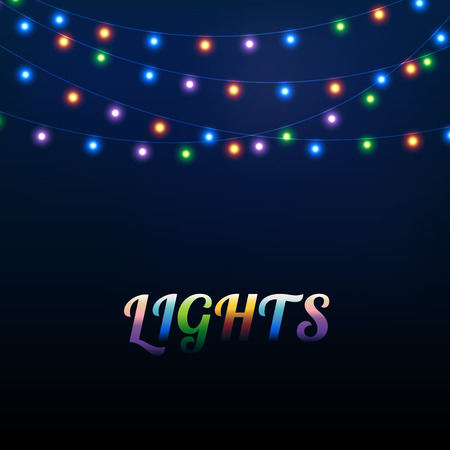 Abstract background with different colored bright garland lights Vectores
