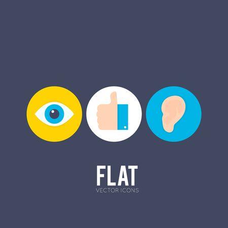 oreja: Iconos planos del ojo, la mano con los pulgares para arriba y el o�do