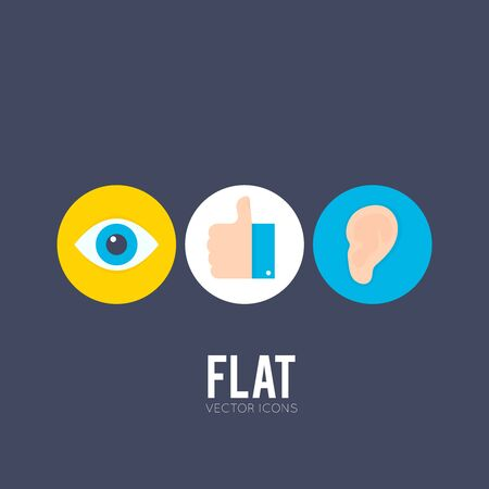 Flat icons of eye, hand with thumbs up and ear