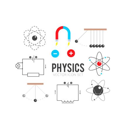 physics background: Set of flat physics icons