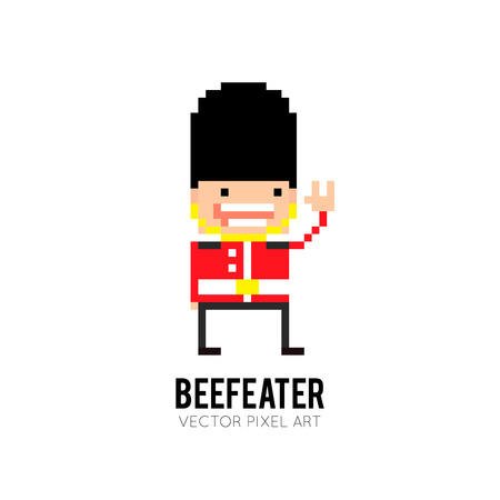 security guard man: Pixel art character of United Kingdom beefeater guard
