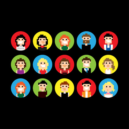 Set of round pixel people avatars