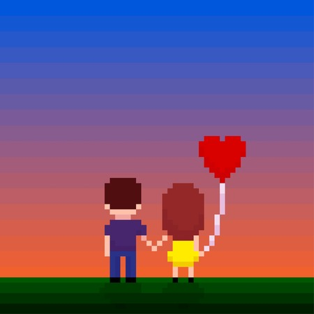 couple nature: Pixel art couple holding hands and looking for a sunset
