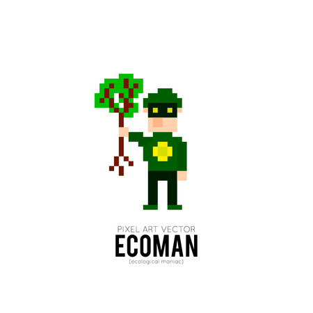 defender: Funny cartoon pixel art superhero, defender of the ecology Illustration