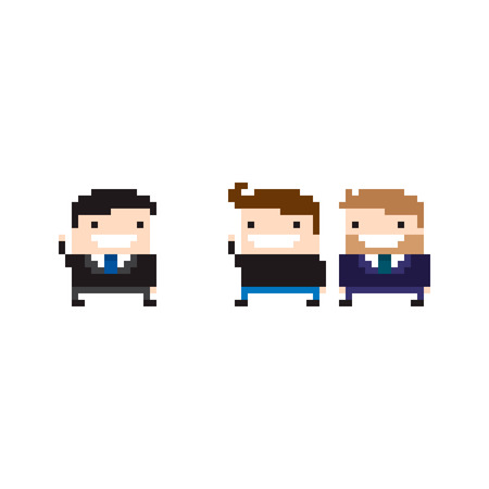 Pixel art office characters greeting each other Illustration