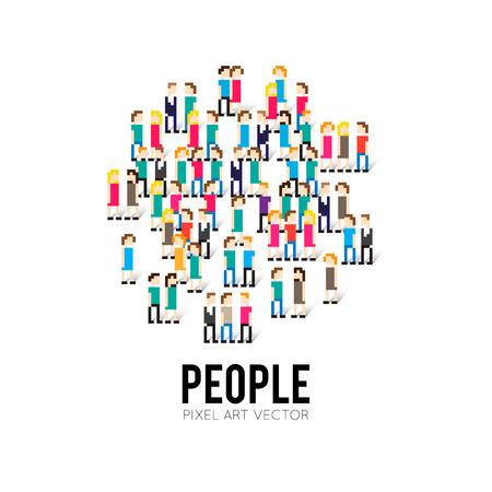 人々 のピクセル アート 8 ビットのグループ  イラスト・ベクター素材