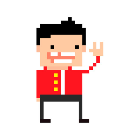 pixel art: Pixel art guy in red overcoat, without one tooth smiling, sign of the horns