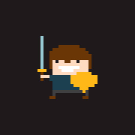 bit: Pixel art young warrior character in helmet with sword and shield