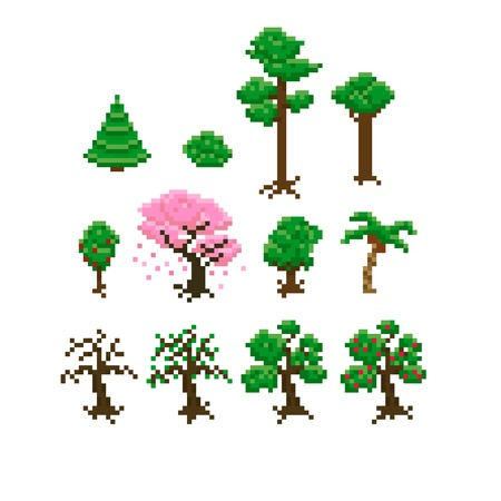 bit: Set of pixel art trees Illustration
