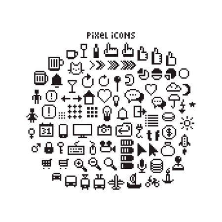 input: Large set of pixel art 8-bit icons for a smartphone or web. Weather, pointers, smartphone UI, different transport vehicles and other black and white pictograms Illustration