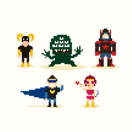 Set of pixel art posing superheroes Stock Illustratie