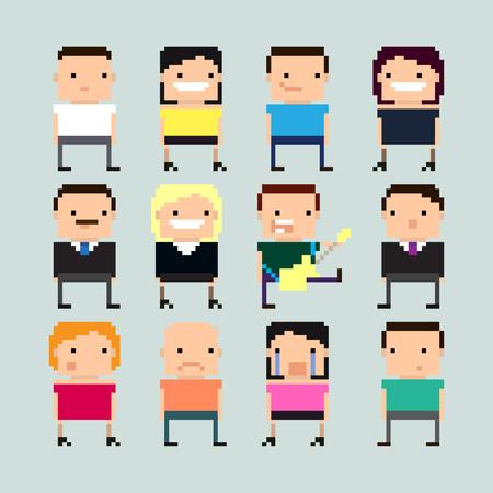 Set of funny pixel art cartoon characters Illustration