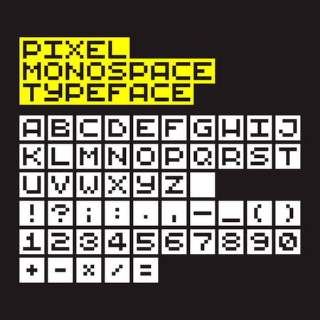 Pixel art monospace alphabet, numbers and symbols Vector