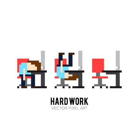 denial: Pixel art background with man sleeping and going crazy at work