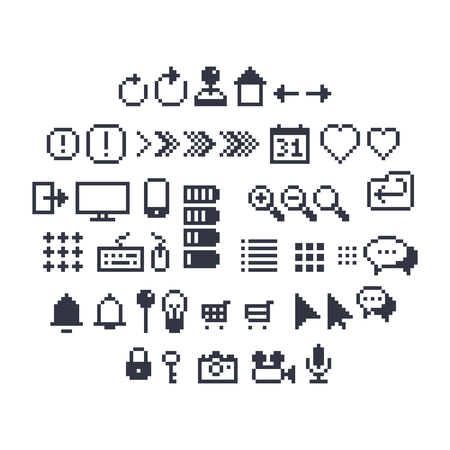 icons site search: Pixel art contour, black and white 8-bit icons for website or mobile user interface