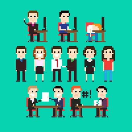 Pixel art people in office