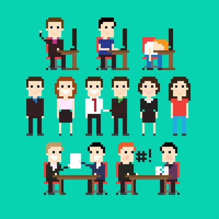 Pixel art people in office