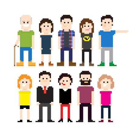 Set of pixel art people icons illustration