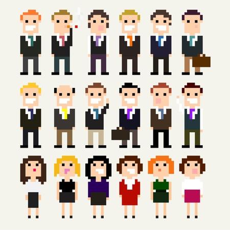 Set of pixel art office people in suits Vector