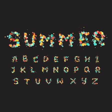 typography: Alphabet letters consist of many color bubbles Illustration