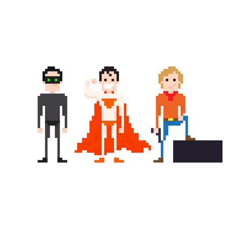 bit: Set of pixel art posing superheroes Illustration