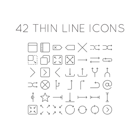backspace: Set of thin line icons with different arrows