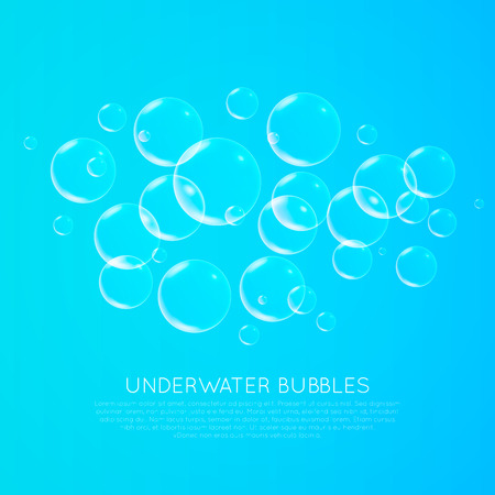 Abstract underwater background with transparent bubbles Illustration