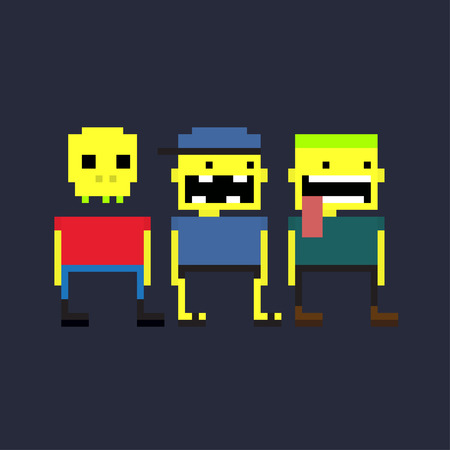 bit: Set of three crazy pixel yellow guys Illustration