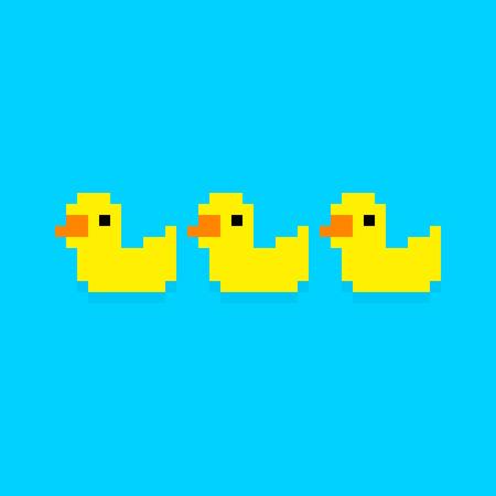 duckie: Three pixel art yellow bath ducks isolated on blue background Illustration