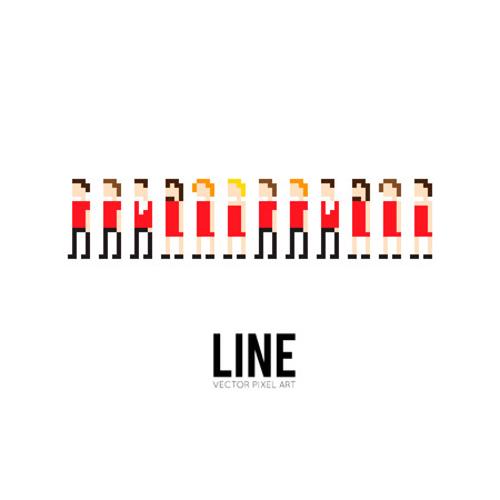 familias unidas: Arte Pixel grupo de 8 bits de personas