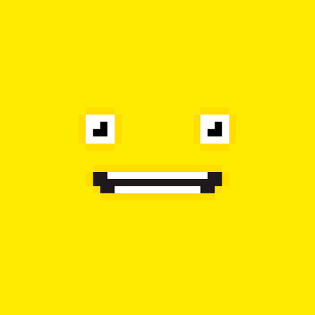Pixel art yellow background with surprised face Vector