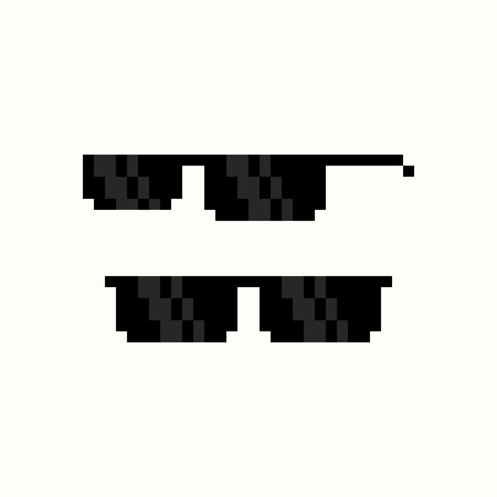 sunglasses reflection: Pixel art black sunglasses isolated on white background
