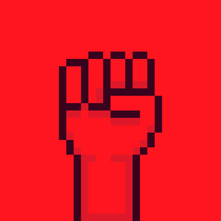 fist up: Pixel art red rebel fist up