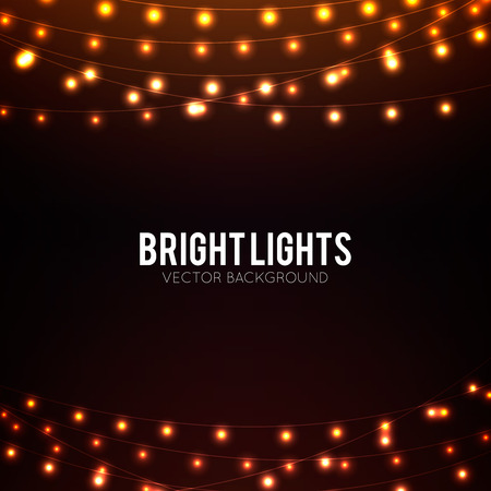 fairy light: Abstract background with golden glowing lights Illustration