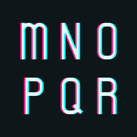 r p m: Stereo alphabet, letters m, n, o, p, q, r on dark background
