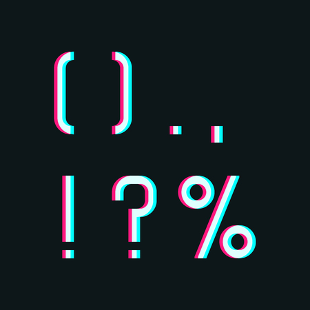 and comma: Stereo alphabet, punctuation symbols: comma, point, brace, expression, question and percent on dark background Illustration