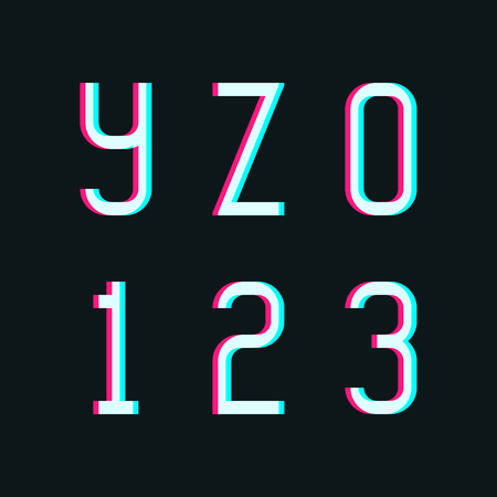 2 0: Stereo alphabet, letters y, z and digits 0, 1, 2, 3 on dark background