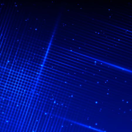 Abstract techno background with many blue bright glowing lines Ilustrace