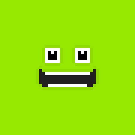 Pixel art green background with happy smiling face Vector