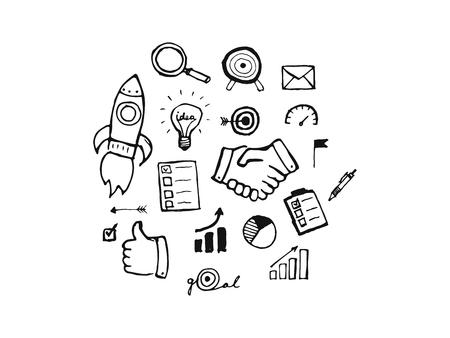 Mano di business disegnato set di icone Vettoriali