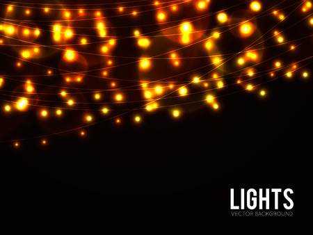 string of christmas lights: Abstract background with golden glowing lights Illustration