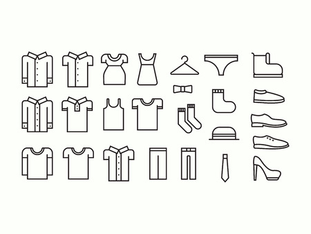 white pants: Set of outline clothes icons Illustration