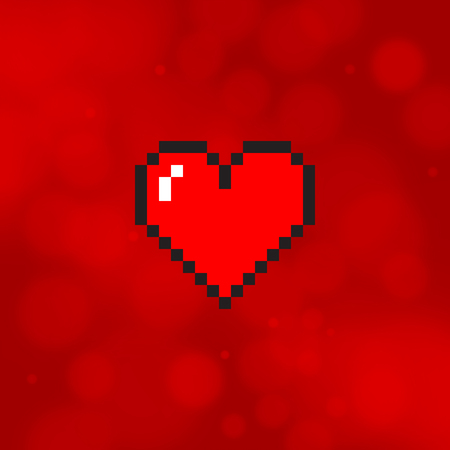 Pixel art heart isolated on red blurred background
